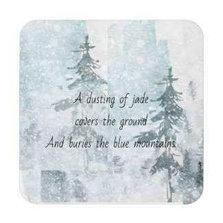 Jade Snowstorm Mountain Pines Beverage Coaster